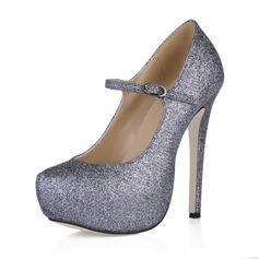 Sparkling Glitter Stiletto Heel Pumps Platform Closed Toe With Buckle shoes