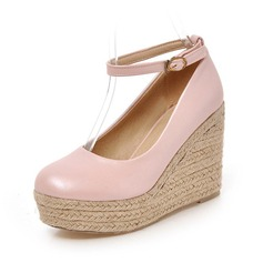Women's Leatherette Wedge Heel Pumps Closed Toe shoes