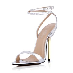 Women's Leatherette Stiletto Heel Sandals Pumps Peep Toe Slingbacks With Buckle shoes