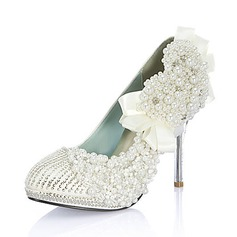 Leatherette Stiletto Heel Closed Toe Pumps Wedding Shoes With Beading Imitation Pearl Rhinestone (047020110)