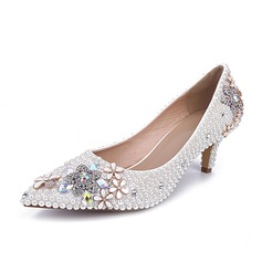 Women's Patent Leather Low Heel Closed Toe Pumps With Rhinestone