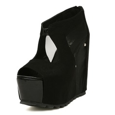 Leatherette Wedge Heel Peep Toe Pumps With Zipper (085025156)