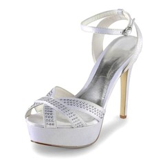 Satin Stiletto Heel Peep Toe Platform Sandals Wedding Shoes With Rhinestone (047011886)