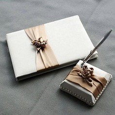 Satin Blush Ivory Wedding Guest Book and Pen Set(101018145)