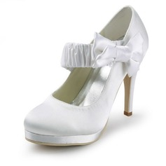 Satin Stiletto Heel Closed Toe Platform Pumps Wedding Shoes With Bowknot (047011862)