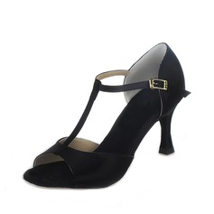 Women's Satin Heels Sandals Latin With T-Strap Buckle Dance Shoes