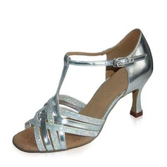 Women's Leatherette Heels Sandals Latin With T-Strap Dance Shoes