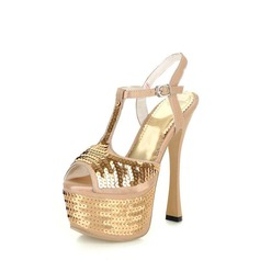 Satin Spool Heel Platform Sandals With Sequin (087023585)