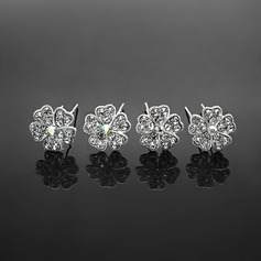 Hairpins Wedding Special Occasion Casual outdoor Rhinestone Silver Headpieces With White-4 piece (042017910)