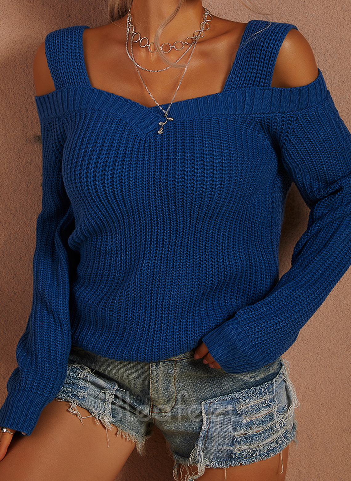 Cold Shoulder Casual Solid Sweaters