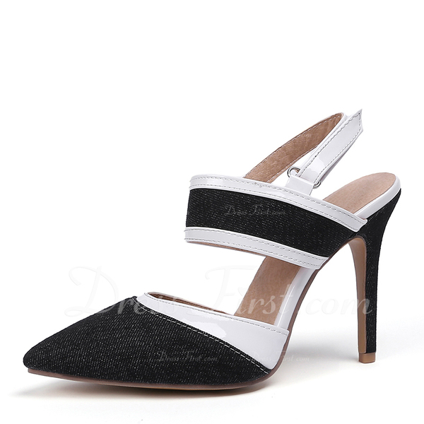 d47e44a6222 Mulheres Couro Jean Salto agulha Sandálias Bombas Fechados Sapatos ...