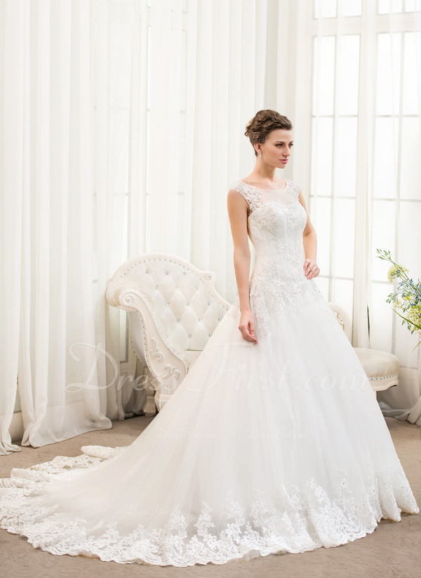 Ball-Gown Scoop Neck Chapel Train Tulle Lace Wedding Dress With ...