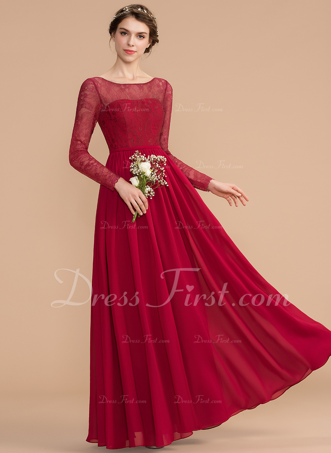 c647494f73 A-Line Scoop Neck Floor-Length Chiffon Lace Bridesmaid Dress  176769