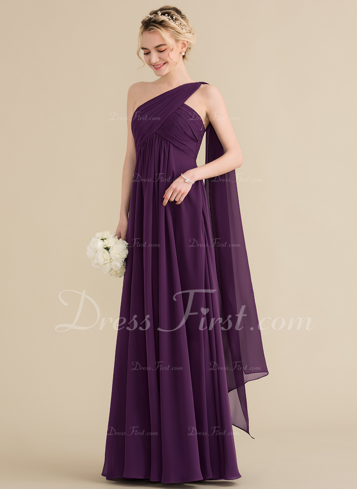 A-Line/Princess One-Shoulder Floor-Length Chiffon Bridesmaid Dress With Ruffle