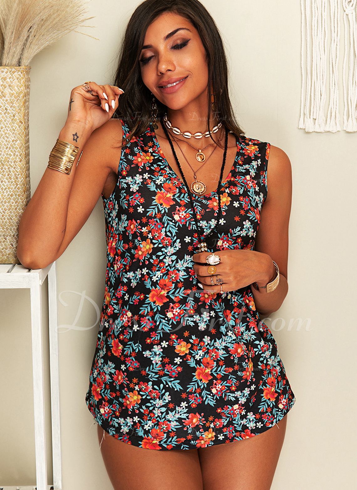 Floral Print V-Neck Sleeveless Casual Tank Tops