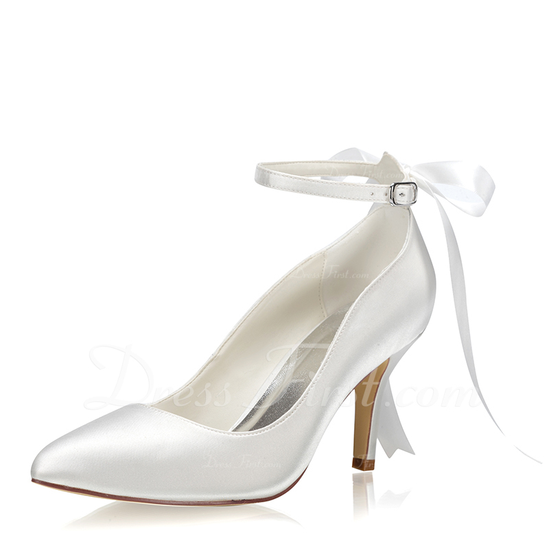 Women's Fabric Stiletto Heel Closed Toe Pumps With Buckle Lace-up
