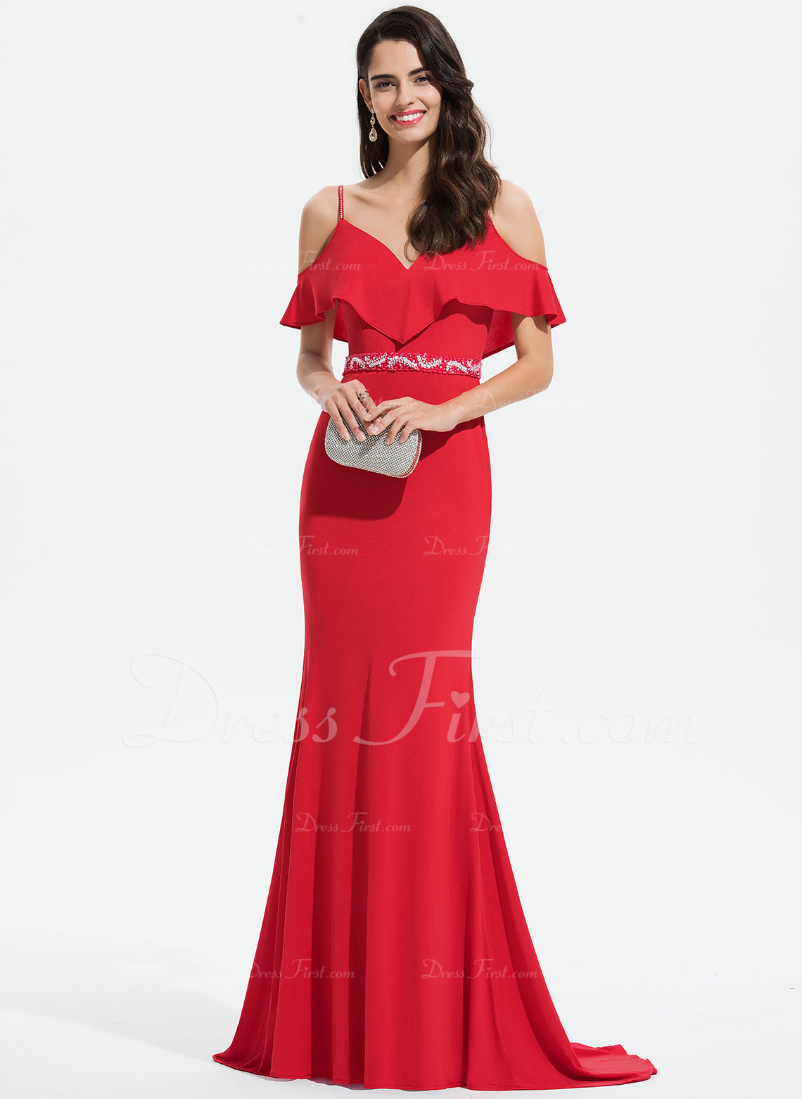 793197805c6f5 Loading zoom. Loading. Color: Red. Trumpet/Mermaid V-neck Sweep Train  Jersey Prom Dresses With Lace Beading Sequins ...