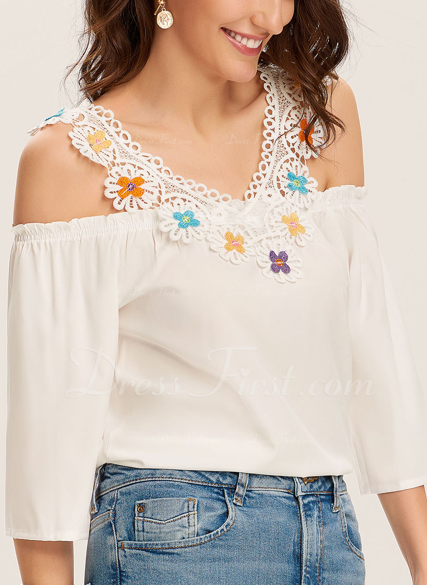 Lace Print Cold Shoulder 1/2 Sleeves Casual Blouses