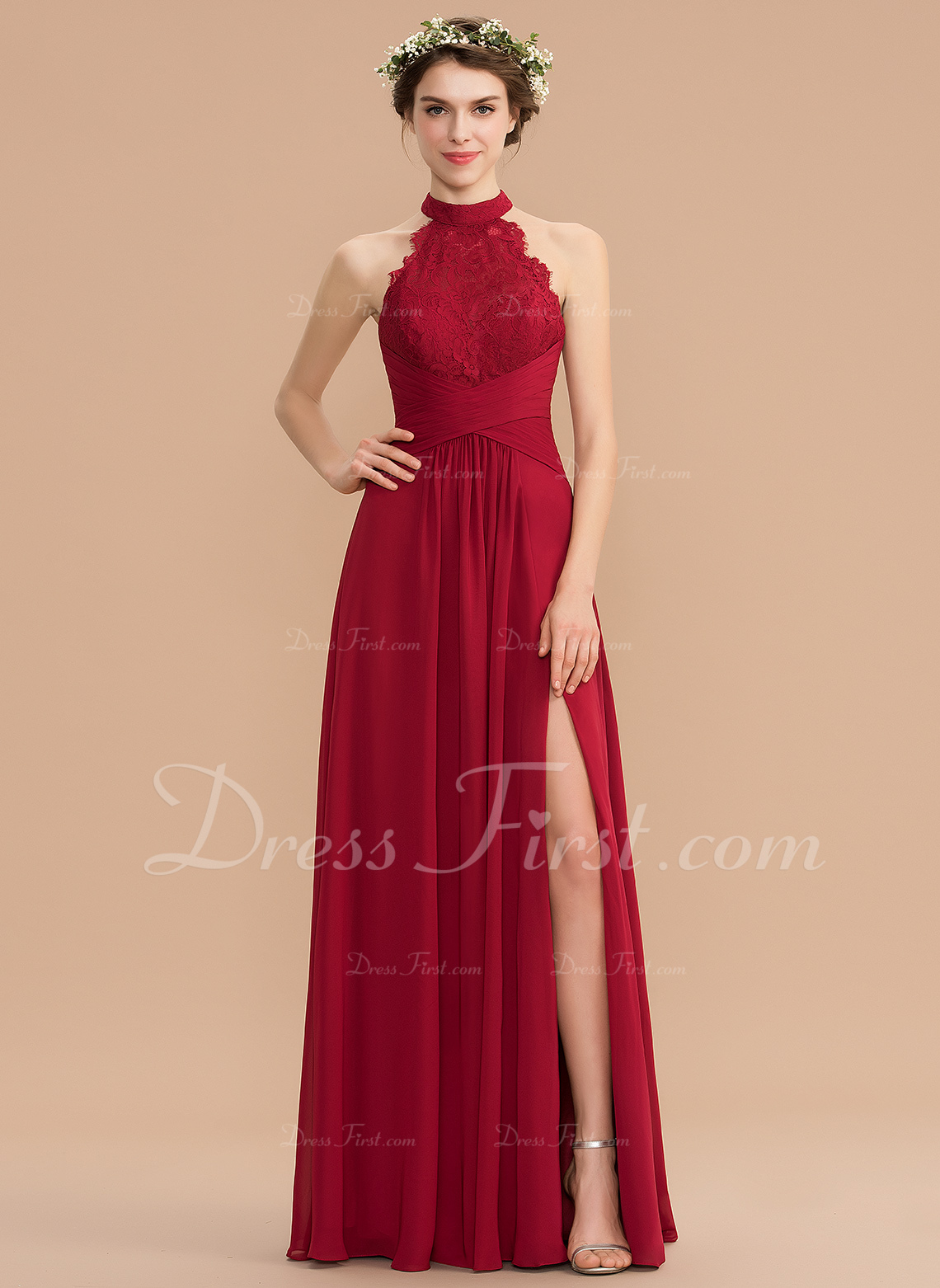 0c7b4e29c08 Loading zoom. Loading. Color  Burgundy. A-Line High Neck Floor-Length  Chiffon Lace Bridesmaid Dress With Ruffle ...