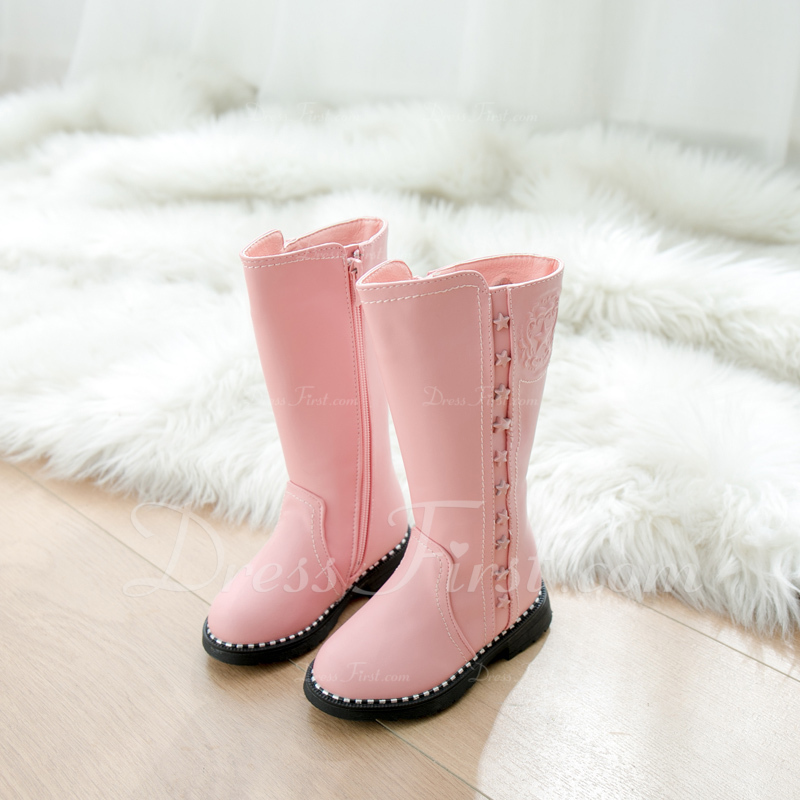 Girl's Round Toe Closed Toe Knee High Boots Leatherette Flat Heel Boots Sneakers & Athletic Flower Girl Shoes With Zipper