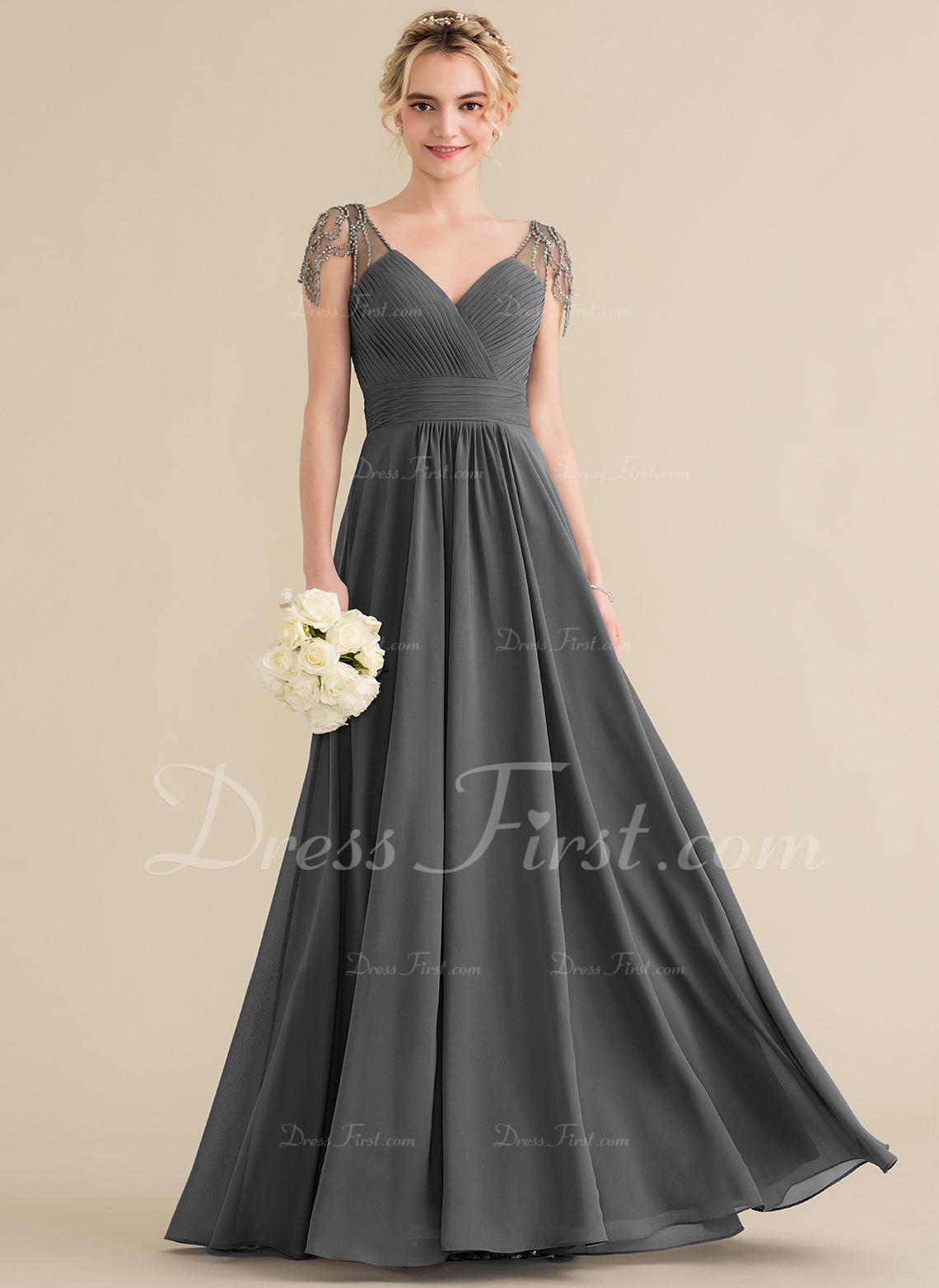 1a114ae28cf Loading zoom. Loading. Color  Steel Grey. A-Line Princess V-neck Floor-Length  Chiffon Bridesmaid Dress With Ruffle Beading ...