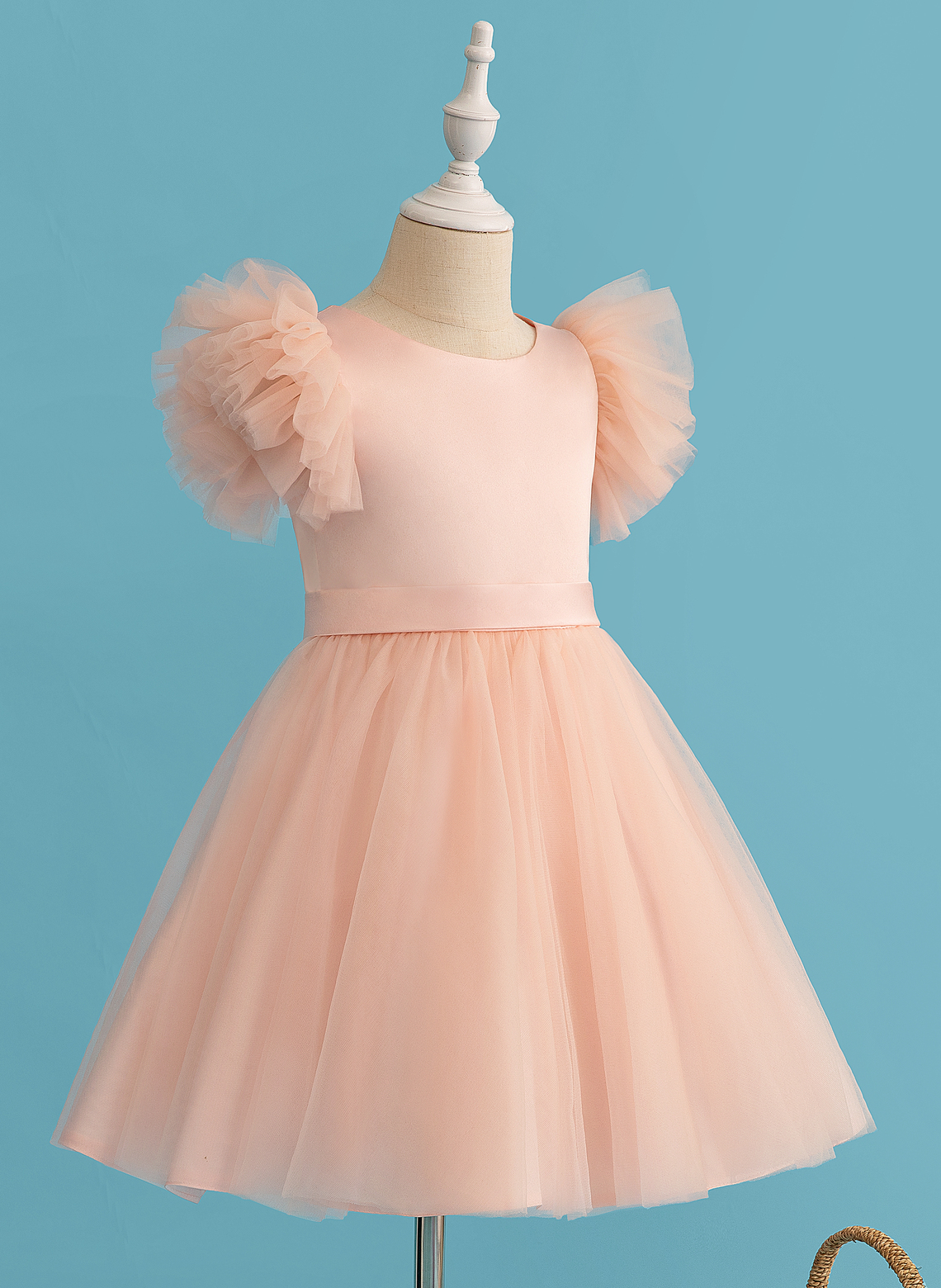 A-Line Knee-length Flower Girl Dress - Tulle Short Sleeves Scoop Neck