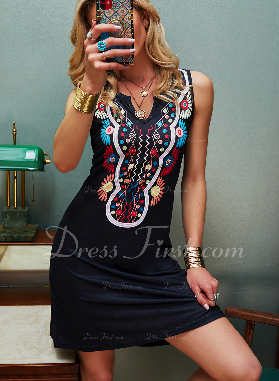 Floral Print Shift Sleeveless Mini Casual Vacation Tank Dresses