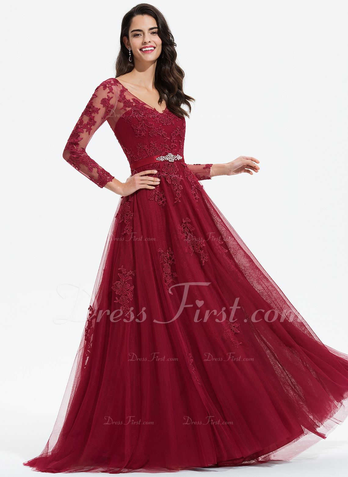 1c8b9e0a6da77 Loading zoom. Loading. Color: Burgundy. A-Line V-neck Sweep Train Tulle  Prom Dresses With Beading Appliques Lace ...