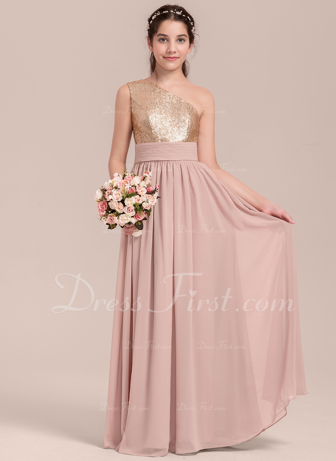 b4cafef40949 Loading zoom. Loading. Color: Dusty Rose. A-Line/Princess One-Shoulder Floor -Length Chiffon Junior Bridesmaid Dress With Ruffle ...