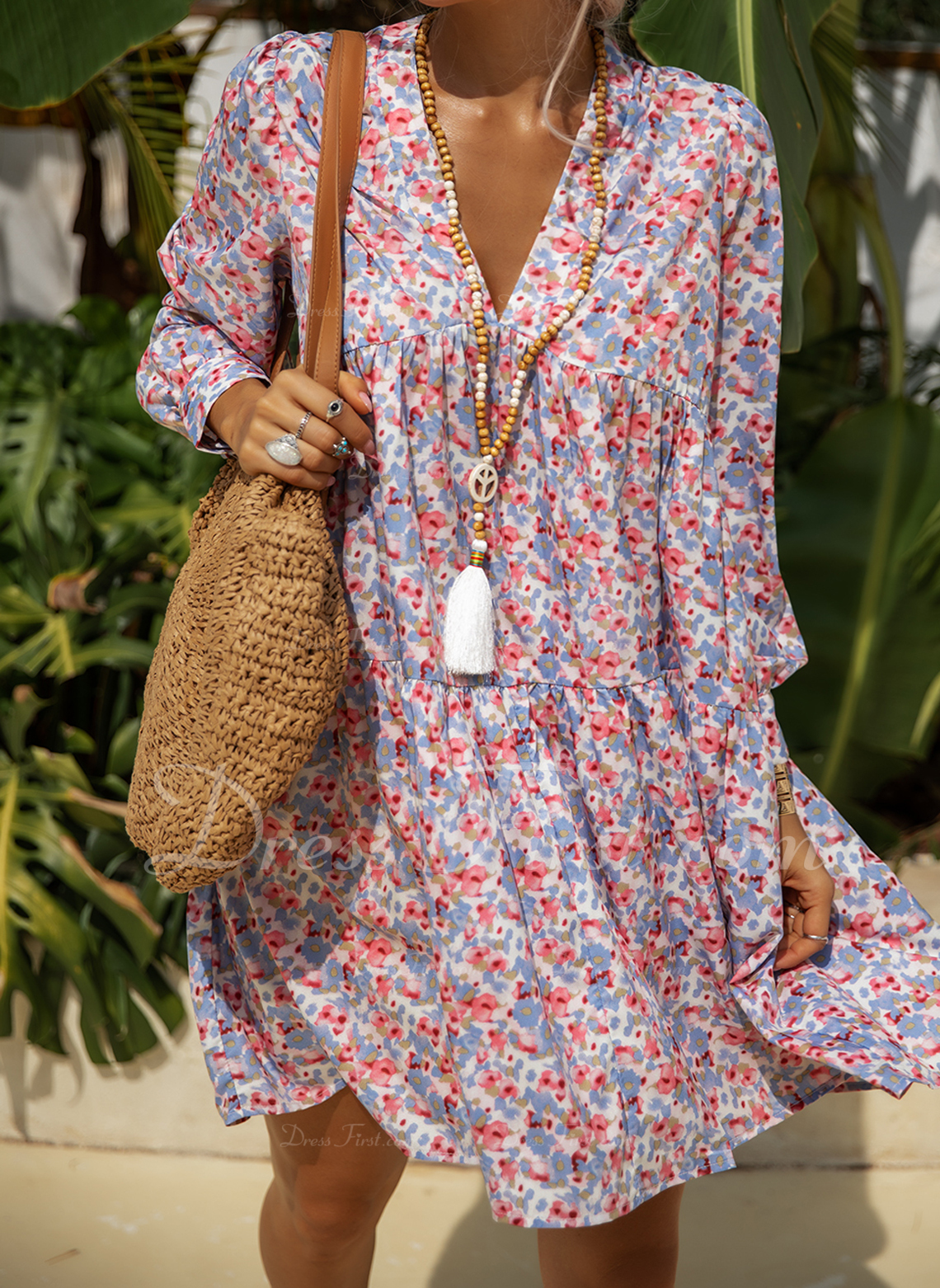 Floral Print Shift Long Sleeves Mini Casual Vacation Tunic Dresses
