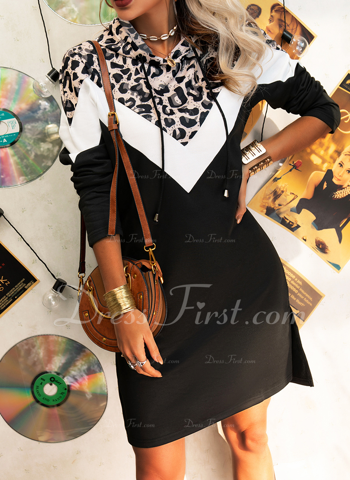 Leopard Color Block Shift Long Sleeves Mini Casual Sweatshirt Dresses