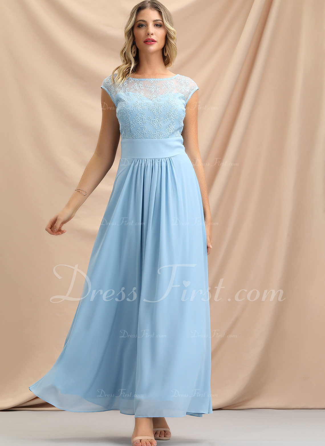 Lace Solid Sheath Sleeveless Maxi Party Dresses