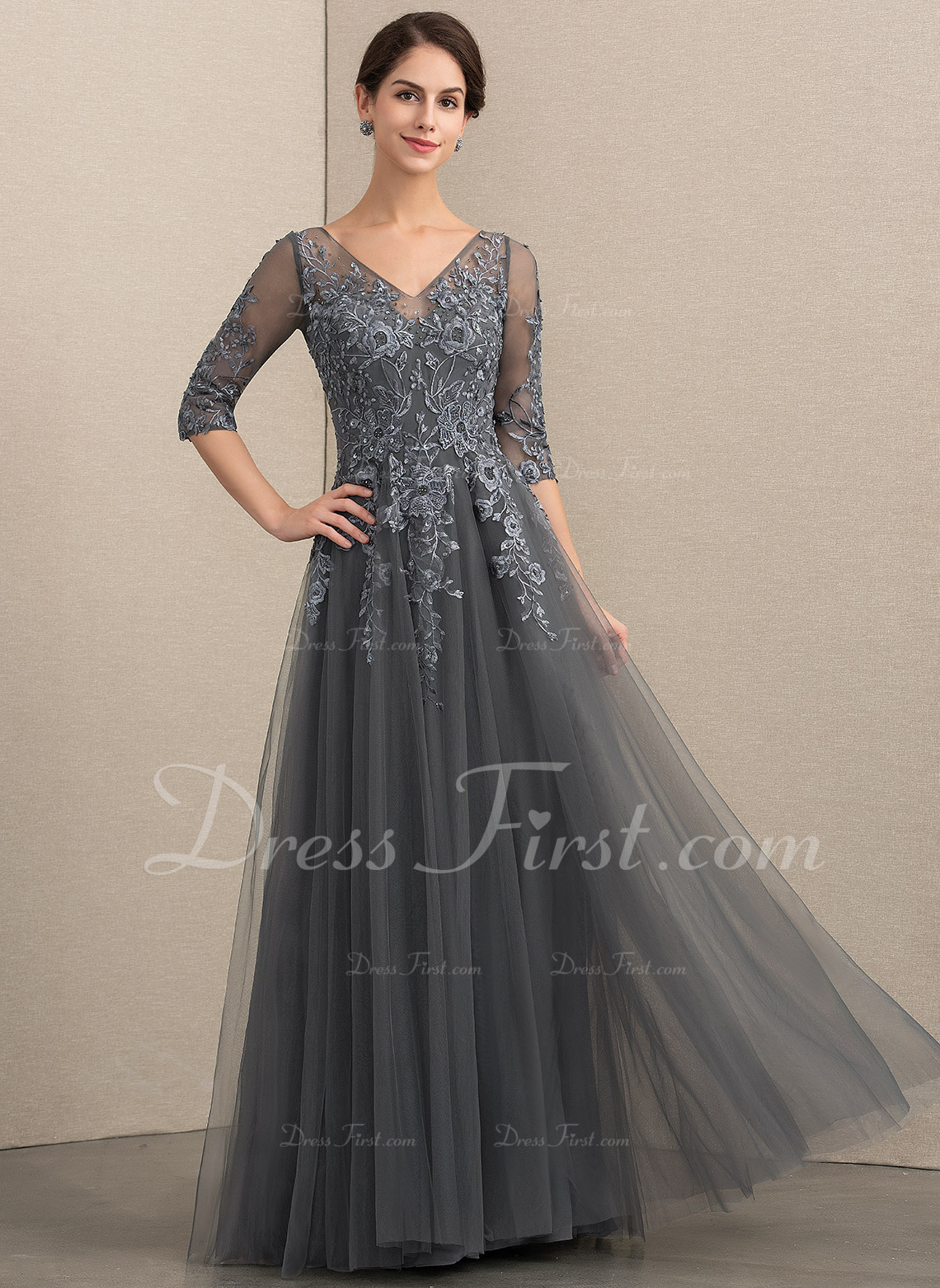 e000b6f96b1e A-Line V-neck Floor-Length Tulle Lace Mother of the Bride Dress With Beading  Sequins  152148