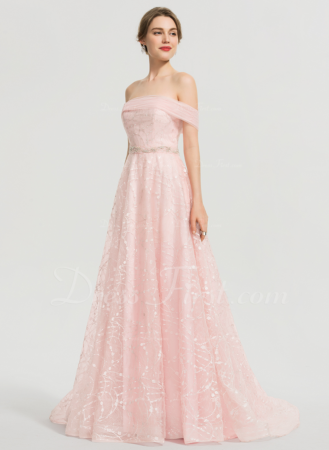 54d69f0688f8 A-Line Off-the-Shoulder Sweep Train Tulle Prom Dresses With Beading Sequins  #192333