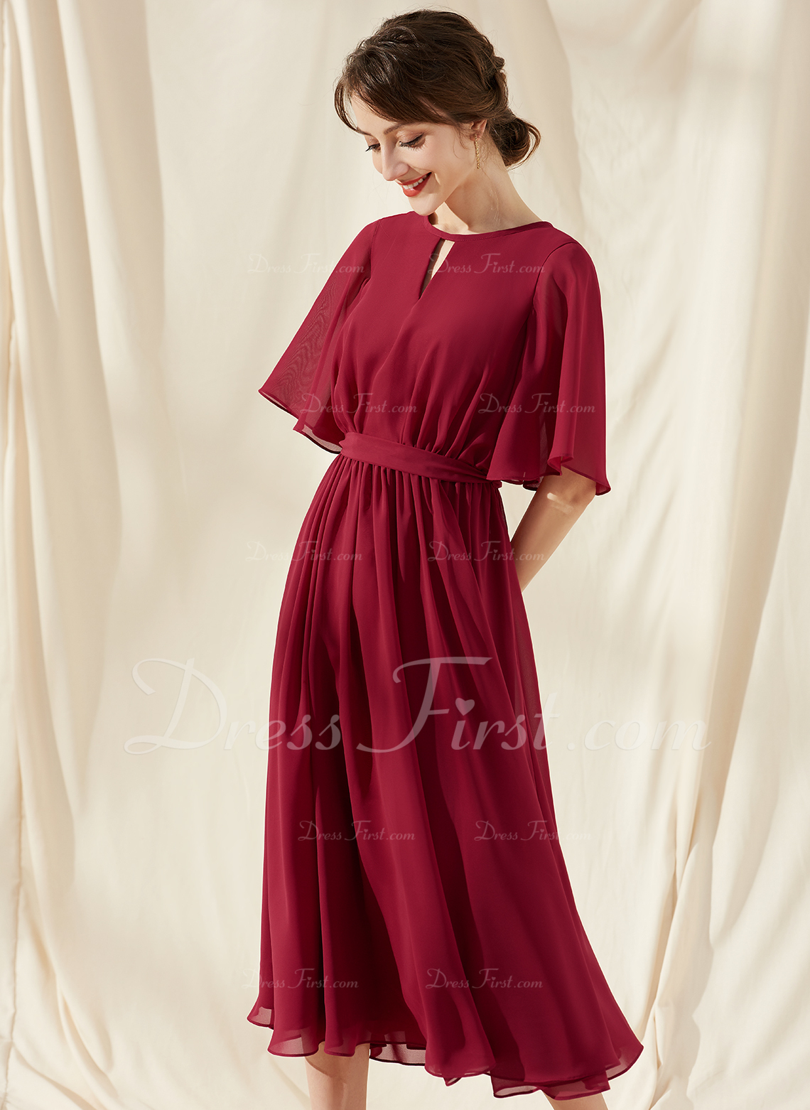 A-Line Scoop Neck Tea-Length Chiffon Cocktail Dress With Ruffle Bow(s)