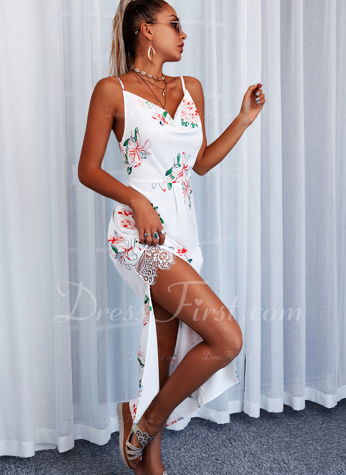 Floral Lace Print A-line Sleeveless Asymmetrical Casual Vacation Skater Type Dresses