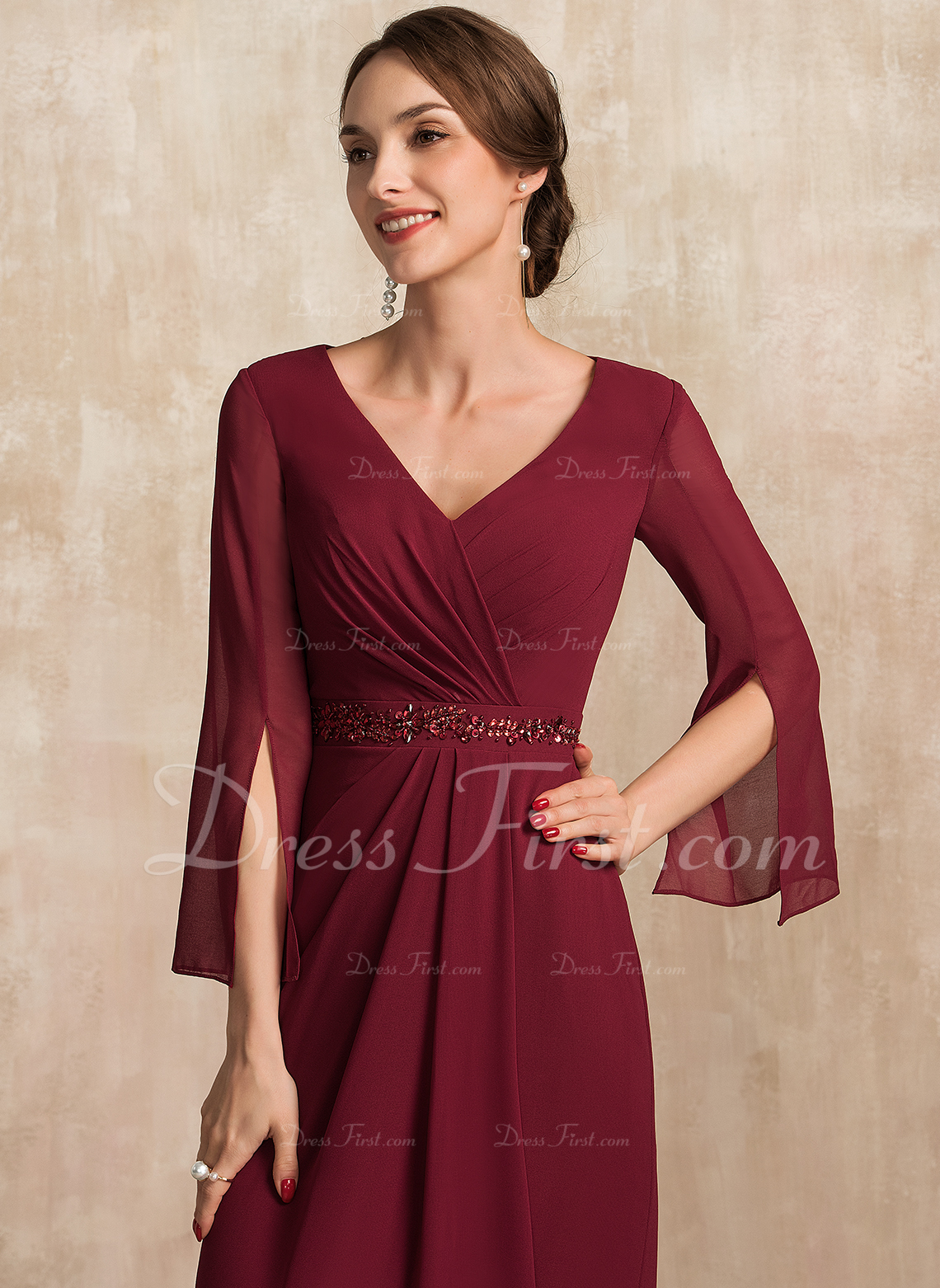 Sheath/Column V-neck Floor-Length Chiffon Mother of the Bride Dress With Ruffle Beading Sequins