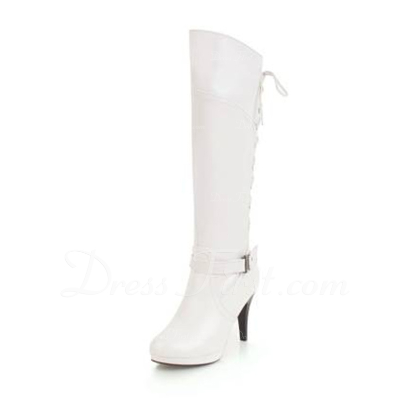740c64f2879bc [US$ 44.99] Women's Suede Cone Heel Pumps Platform Boots Knee High Boots  With Buckle Lace-up shoes - JJsHouse