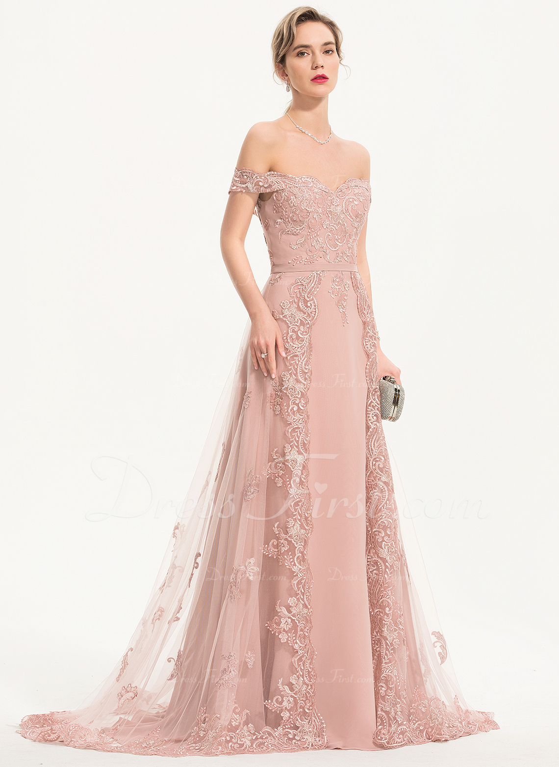A-Line Off-the-Shoulder Sweep Train Chiffon Tulle Prom Dresses