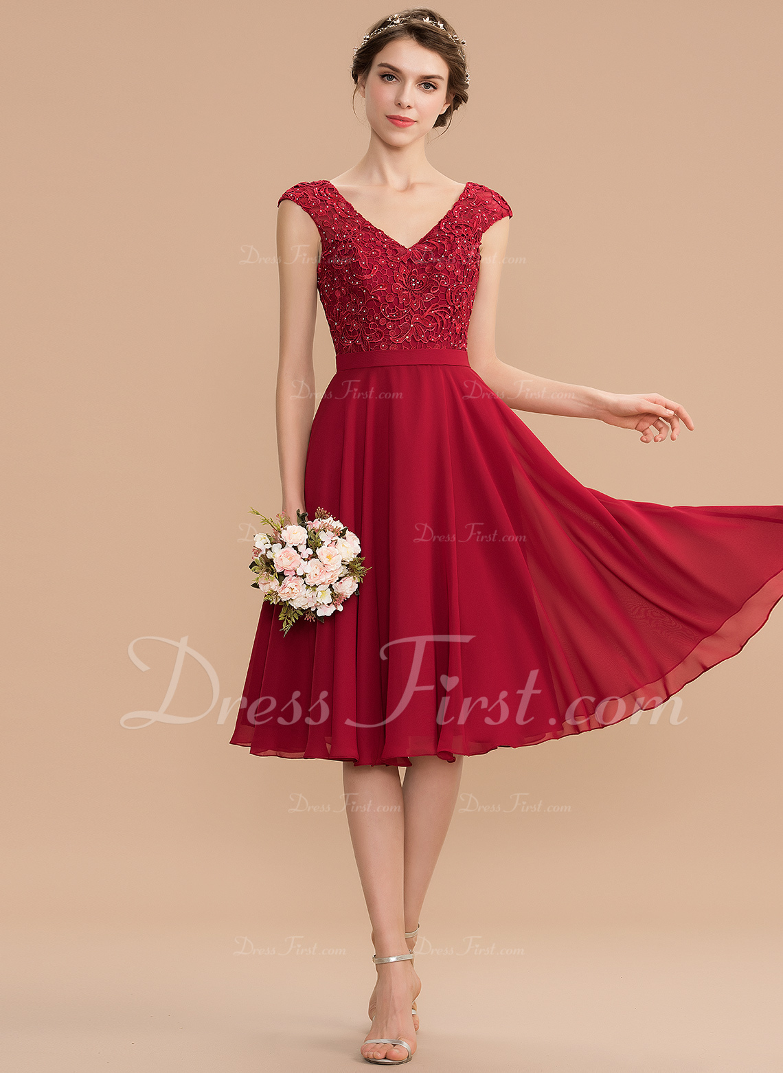 89420709567f52 A-Line V-neck Knee-Length Chiffon Lace Bridesmaid Dress With Beading #165871