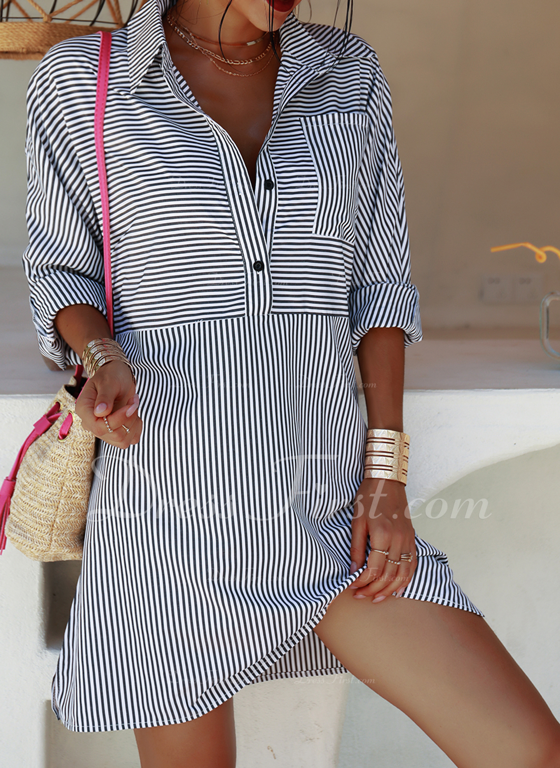 Striped Shift Long Sleeves Mini Casual Vacation Tunic Dresses