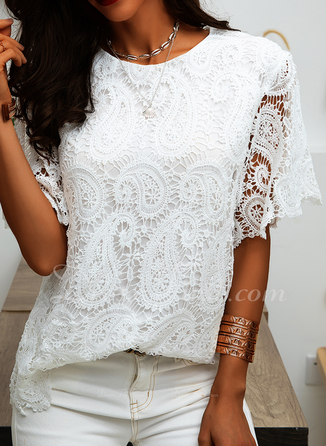 Lace Solid Round Neck Short Sleeves Casual Elegant Blouses
