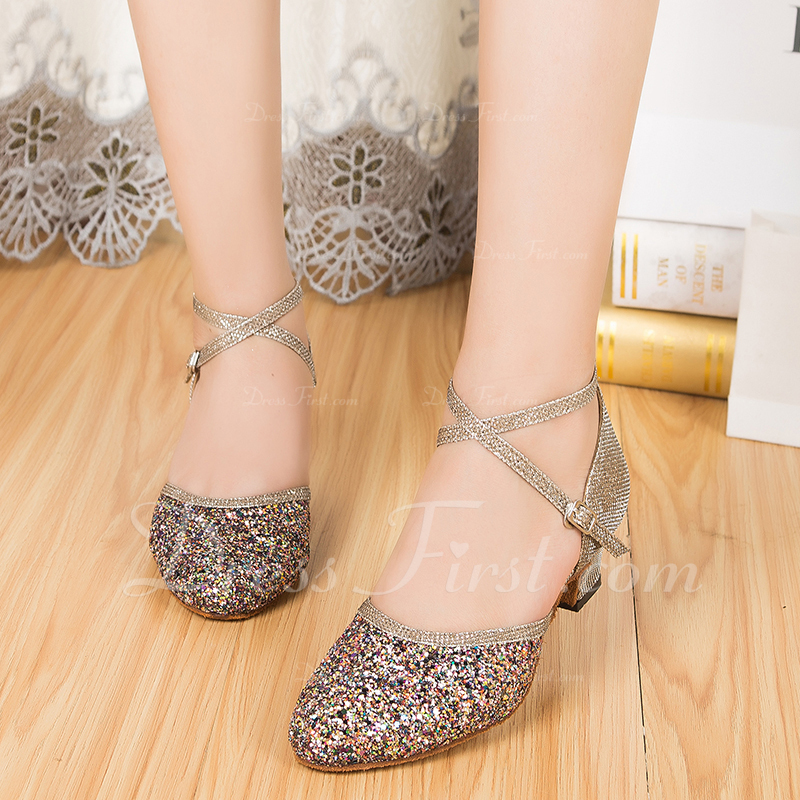 Women's Sparkling Glitter Ballroom With Buckle Dance Shoes
