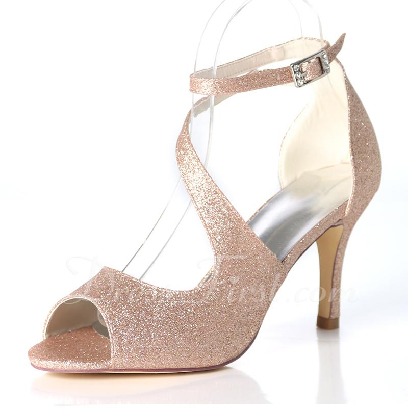 Women's Sparkling Glitter Stiletto Heel Pumps Sandals With Buckle