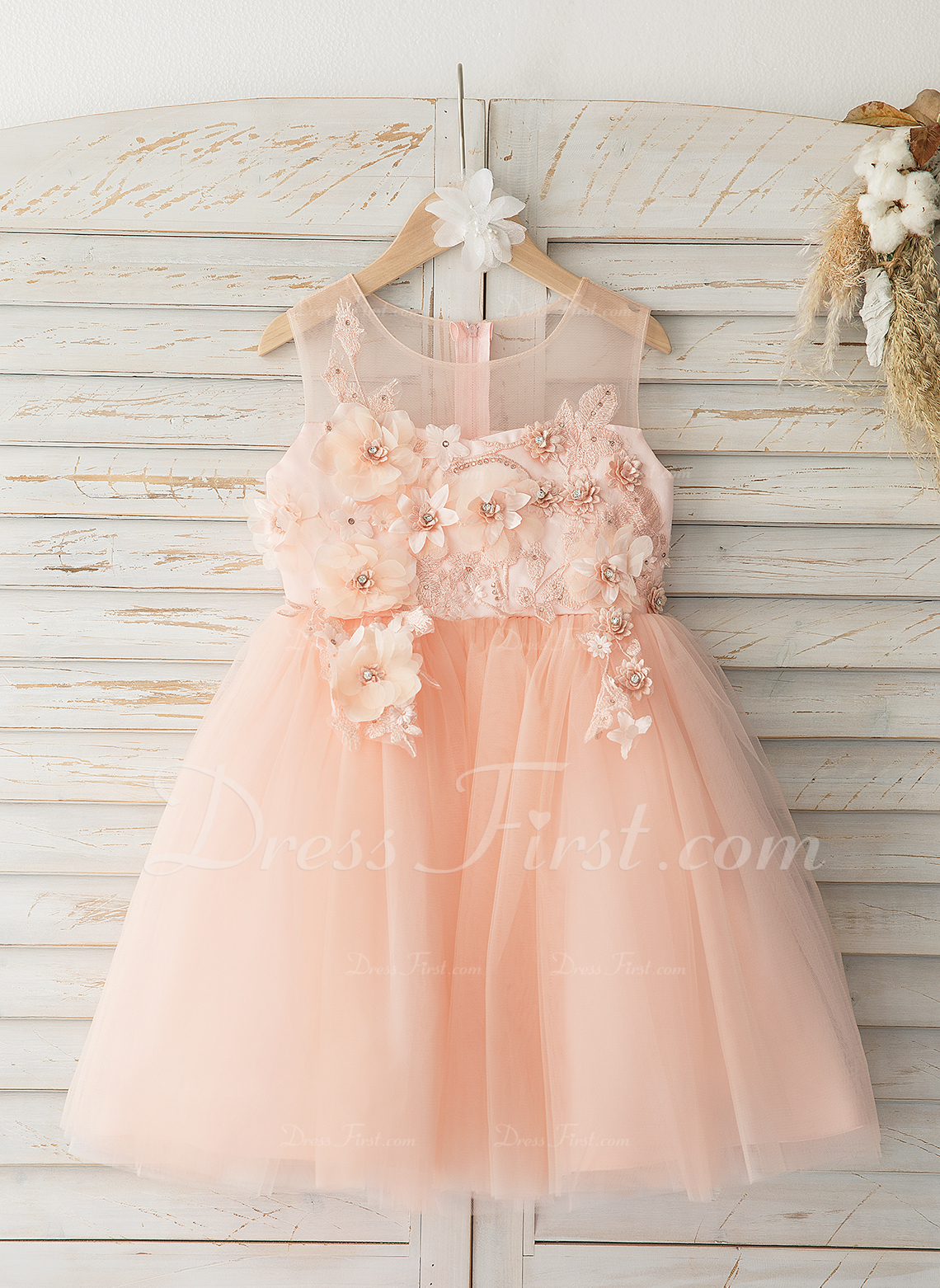 882f64eaff15 Loading zoom. Loading. Color: As Picture. A-Line Knee-length Flower Girl  Dress - Tulle/Lace Sleeveless Scoop Neck ...