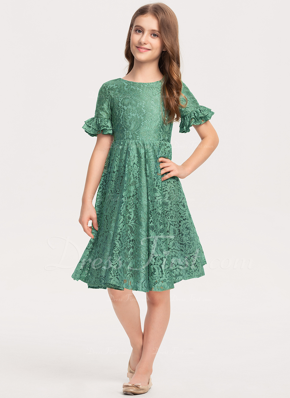 A-Line Scoop Neck Knee-Length Lace Junior Bridesmaid Dress With Cascading Ruffles