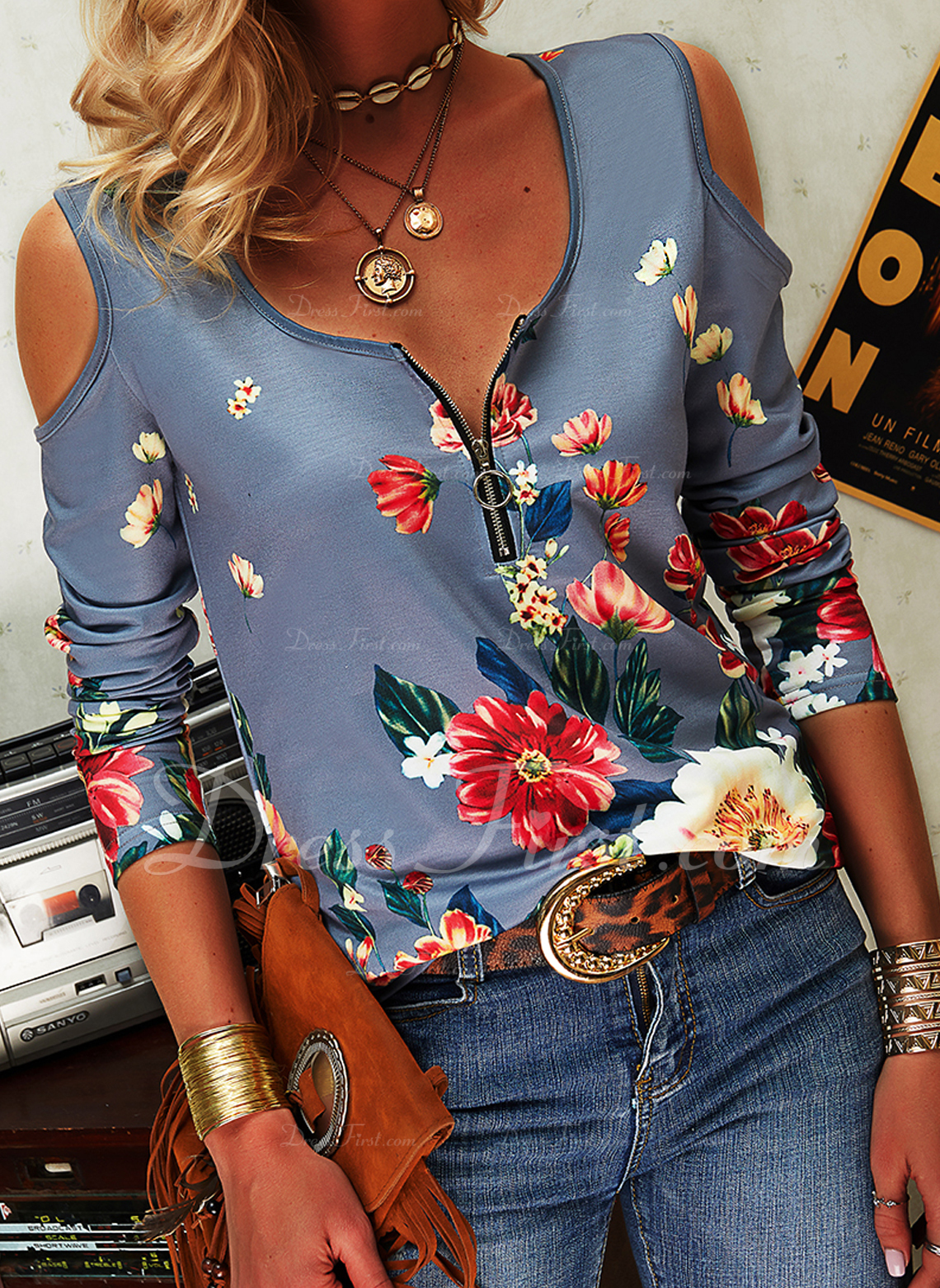 Floral Print Cold Shoulder Long Sleeves Casual Sexy Blouses