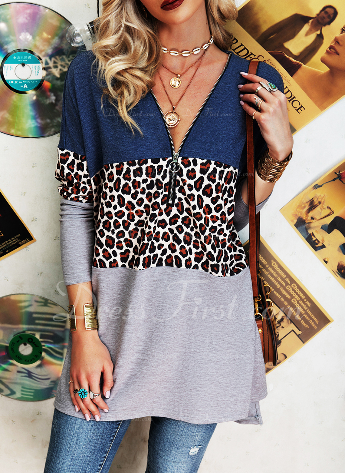 Leopard Color Block V-Neck Long Sleeves Casual Blouses