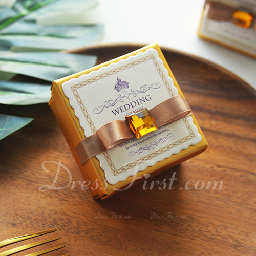 Creative/Classic Cubic Card Paper Favor Boxes & Containers With Ribbons (Set of 50)