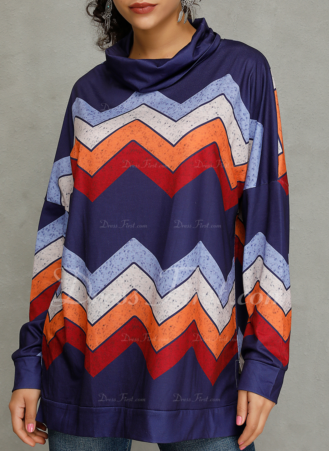 Striped High Neck Long Sleeves Casual